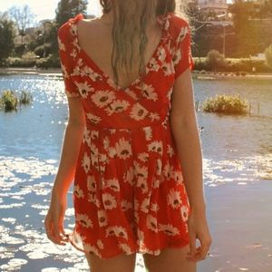 Urban Outfitters Orange Floral Romper